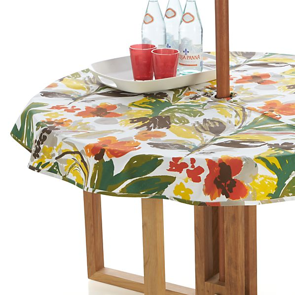 "Handpainted Floral 60"" Round Umbrella Tablecloth"