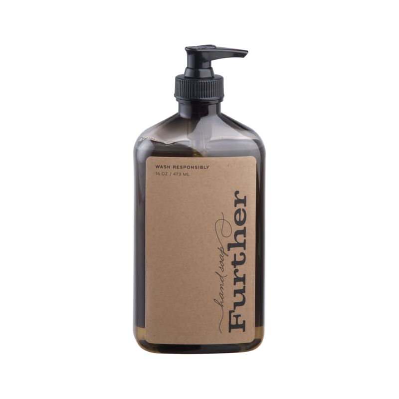 Essences of olive, bergamot and exotic grasses add unique fresh fragrance to this non-drying liquid hand soap crafted by Further, a small, family-run business in Southern California that manufactures its products through a waste-free process.<br /><br /><NEWTAG/><ul><li>Non-drying liquid hand soap</li><li>Produced with waste-free process</li><li>Not tested on animals</li></ul>