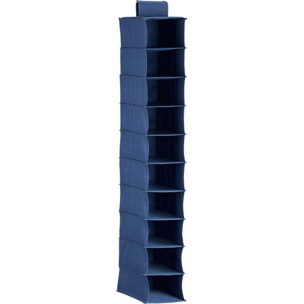 10-Section Hanging Blue Shoe Bag