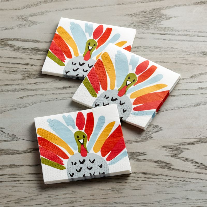 Happy Turkey Paper Beverage Napkins Set of 20