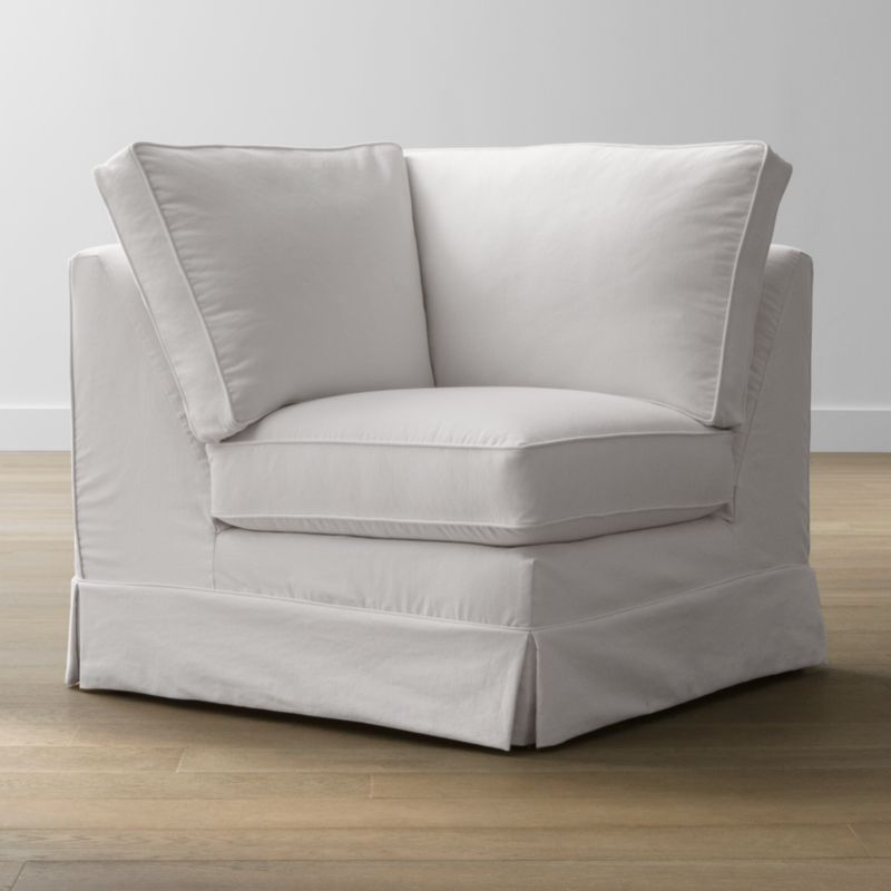 Keep your Harborside sectional corner looking as fresh as the day you brought it home with this convenient, carefree replacement slipcover. Fitted cotton-blend slipcover is tailored with crisp inverted kick pleats and self-welting to keep it neatly in place. Harborside Corner Replacement Slipcover is a Crate and Barrel exclusive.<br /><br /><NEWTAG/><ul><li>Removable slipcover is machine washable</li><li>Self-welting</li><li>Made in North Carolina, USA</li></ul><br />