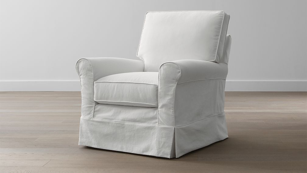 Harborside Slipcovered Swivel Glider Petry Snow Crate
