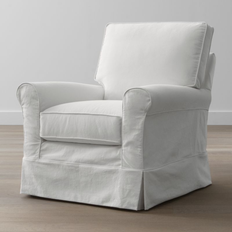 Keep your Harborside swivel glider looking as fresh as the day you brought it home with this convenient, carefree replacement slipcover. Fitted cotton-blend slipcover is tailored with crisp inverted kick pleats and self-welting to keep it neatly in place. Harborside Swivel Glider Replacement Slipcover is a Crate and Barrel exclusive.<br /><br /><NEWTAG/><ul><li>Removable slipcover is machine washable</li><li>Self-welting</li><li>Made in North Carolina, USA of domestic and imported materials</li></ul>