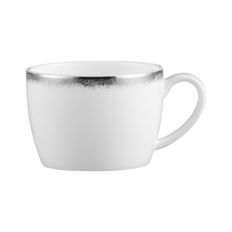 Simple and sophisticated. Clean contemporary coupe shape in gleaming white gets an elegant accent of feathered platinum around its rim. Bone china is highly durable and chip- and stain-resistant.<br /><br /><strong>Please note:</strong> This cup is discontinued. When our current inventory is sold out, it is unlikely we will be able to obtain more.<br /><br /><NEWTAG/><ul><li>Bone china</li><li>Coupe shapes</li><li>Platinum rims</li><li>Dishwasher-safe; hand wash for longer life</li><li>Made in Japan</li></ul>