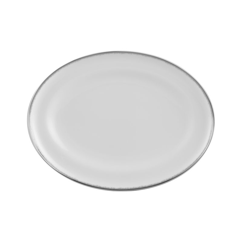 Simple and sophisticated. Clean contemporary coupe shape in gleaming white gets an elegant accent of feathered platinum around its rim. Bone china is highly durable and chip- and stain-resistant.<br /><br /><strong>Please note:</strong> This platter is discontinued. When our current inventory is sold out, it is unlikely we will be able to obtain more.<br /><br /><NEWTAG/><ul><li>Bone china</li><li>Coupe shapes</li><li>Platinum rims</li><li>Dishwasher-safe; hand wash for longer life</li><li>Made in Japan</li></ul>