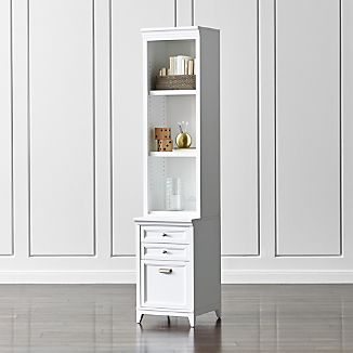 "Harrison 18"" White Bookcase with Filing Cabinet Base"