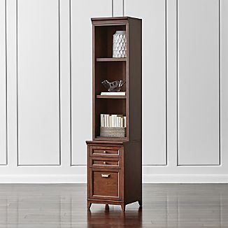 "Harrison 18"" Cherry Bookcase with Filing Cabinet Base"