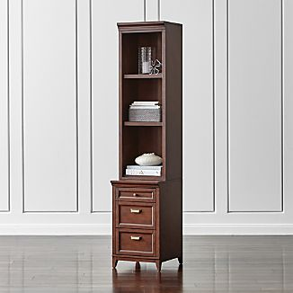 "Harrison 18"" Cognac Bookcase with 3-Drawer Cabinet Base"