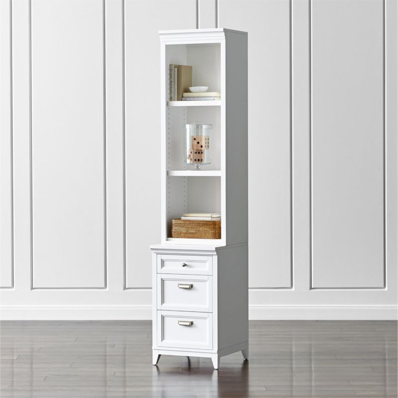 """Harrison 18"""" White Bookcase with 3-Drawer Cabinet Base"""