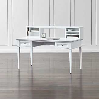 "Harrison White 60"" Desk with Hutch"