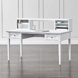 "Harrison White 60"" Writing Desk with Hutch"