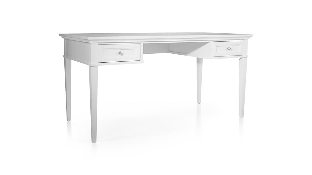 """Harrison 60"""" White Desk with Drawers"""
