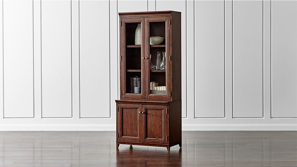 "Harrison 2-pc Cognac 36"" Bookcase with Glass Doors"