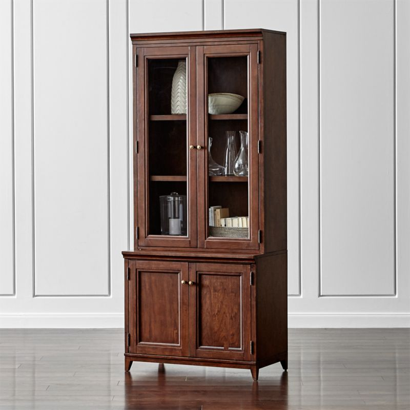 """Harrison 2-pc Cherry 36"""" Bookcase with Glass Doors"""