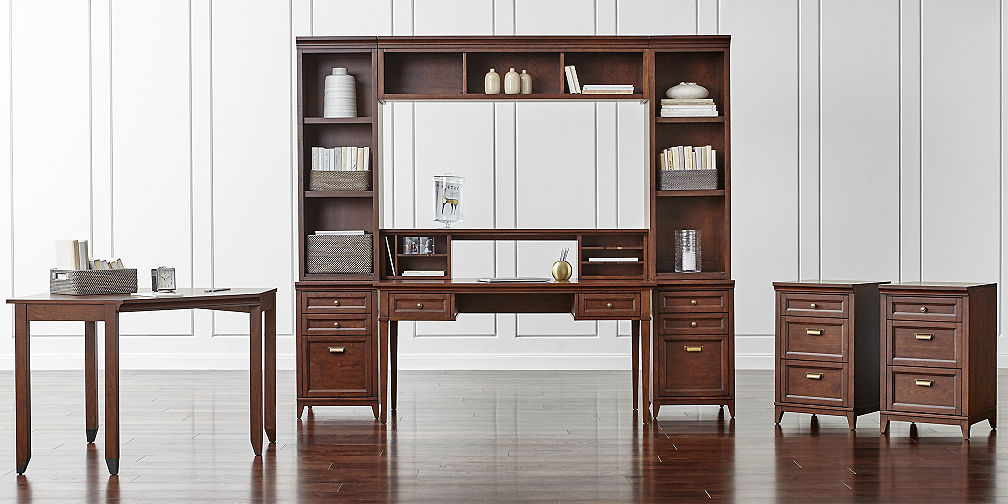 harrison cognac modular home office collection crate and barrel m
