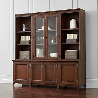Harrison 6-pc Cognac Modular Wall Unit/Glass Doors 84""