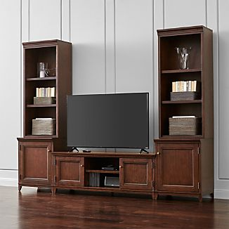 Harrison 5-pc Cherry Entertainment Center/Open Bookcases