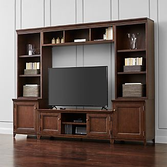 Harrison 6-pc Cherry Entertainment Center/Open Bookcases