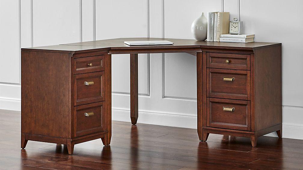 Harrison 3-pc Cognac Corner Desk Cabinet Suite