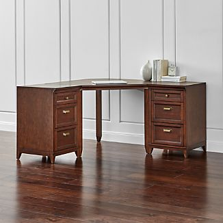 Harrison 3-pc Cognac Corner Desk Cabinet Suite