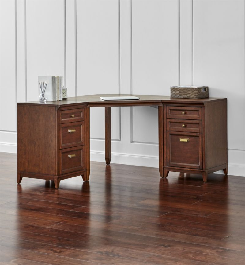 Harrison 3-pc Cherry Corner Desk Office Suite
