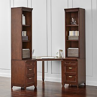 Harrison 5-pc Cognac Corner Desk Cabinet Suite