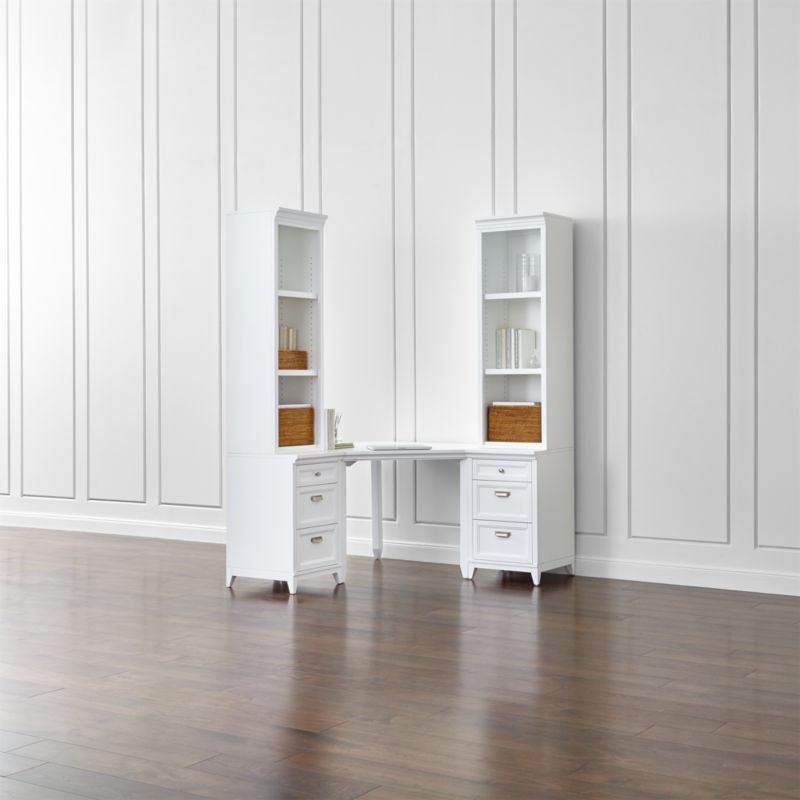 Harrison 5-Piece White Corner Desk Cabinet Suite