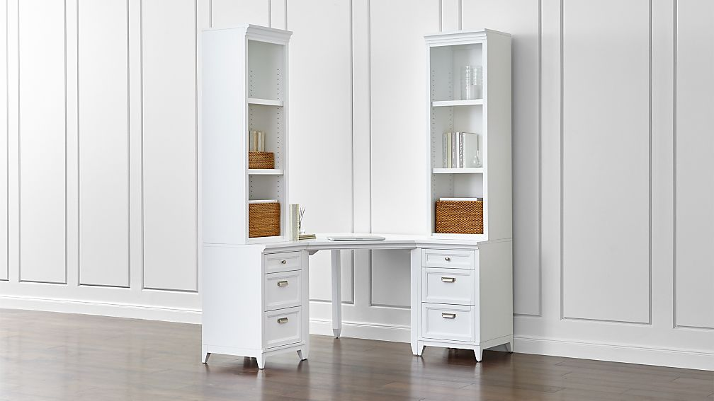 Harrison 5 Piece White Corner Desk Cabinet Suite Crate