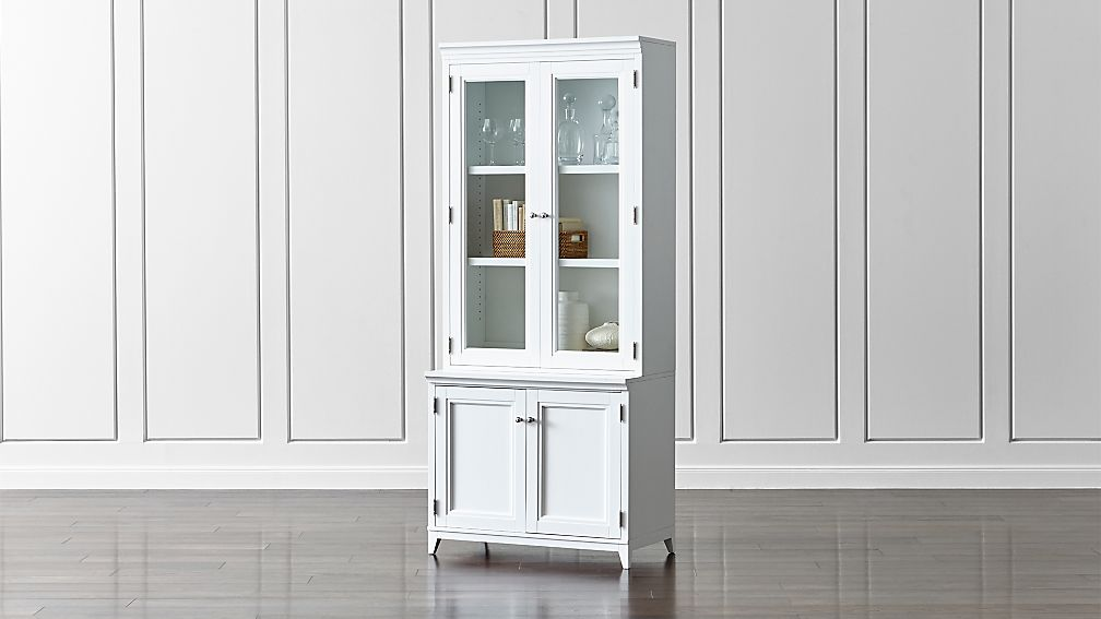 "Harrison 2-Piece White 36"" Bookcase with Glass Doors"