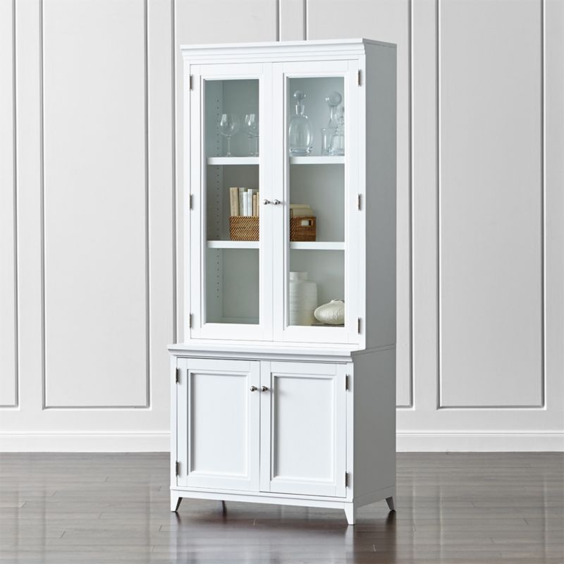 """Harrison 2-Piece White 36"""" Bookcase with Glass Doors"""