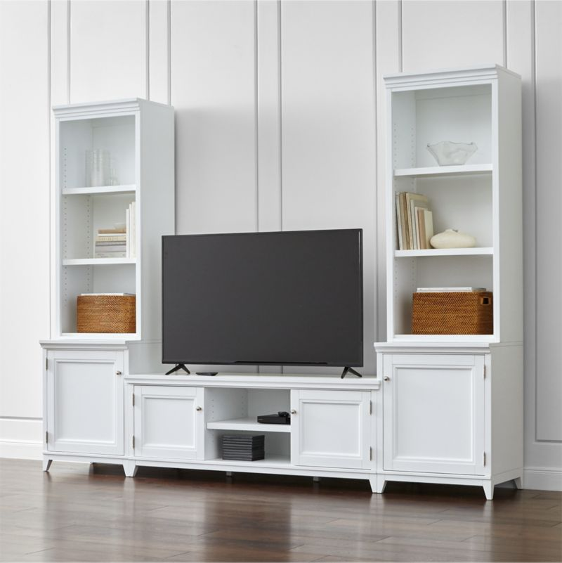 Harrison 5-Piece White Entertainment Center/Open Bookcases