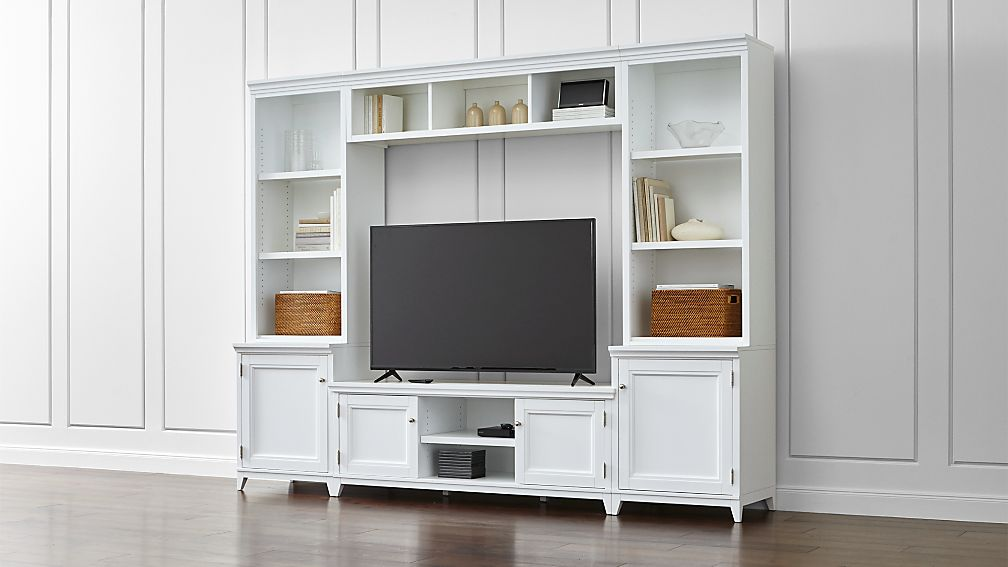 Harrison 6 Piece White Entertainment Center Open Bookcases