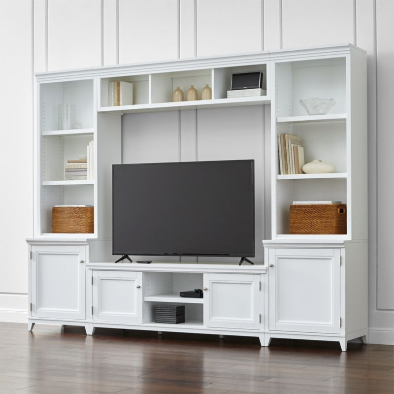 Harrison 6-Piece White Entertainment Center/Open Bookcases