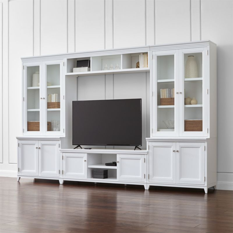 Harrison 6 Pc White Entertainment Center Glass Doors