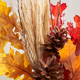 Dried and preserved leaves, pinecones and barley stalks are gathered in our harvest bunch for instant autumnal color that lasts through the seasons. Pop in a vase and let autumn's reds, oranges, rusts and browns shine.