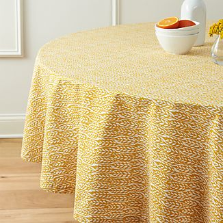 "Harvest Yellow 90"" Round Tablecloth"