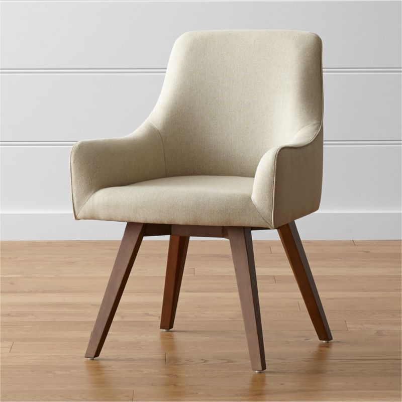 Sculpted for comfort and styled contemporary, the Harvey upholstered desk chair puts everyone at ease. Its beige-and-cream herringbone fabric and angled legs give Harvey a smart look for any office setting, be it classic or contemporary. <NEWTAG/><ul><li>Designed by Bethan Gray</li><li>Plywood seat and bent plywood back</li><li>Solid hardwood legs with walnut stain and clear lacquer topcoat</li><li>100 percent polyester upholstery with self-welt detailing</li><li>360-swivel mechanism</li><li>Polyfoam tight back and seat</li><li>Made in China</li></ul><li>Plastic glides</li><li>Made in China</li></ul><br />