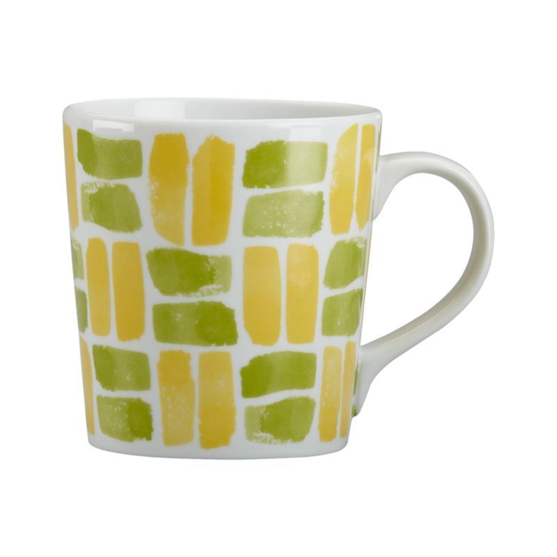 Graphic white porcelain mug sends out the call in painterly dashes in attention-getting brights.<br /><br /><NEWTAG/><ul><li>Porcelain</li><li>Dishwasher-, microwave-, freezer- and oven-safe</li><li>Made in China</li></ul>