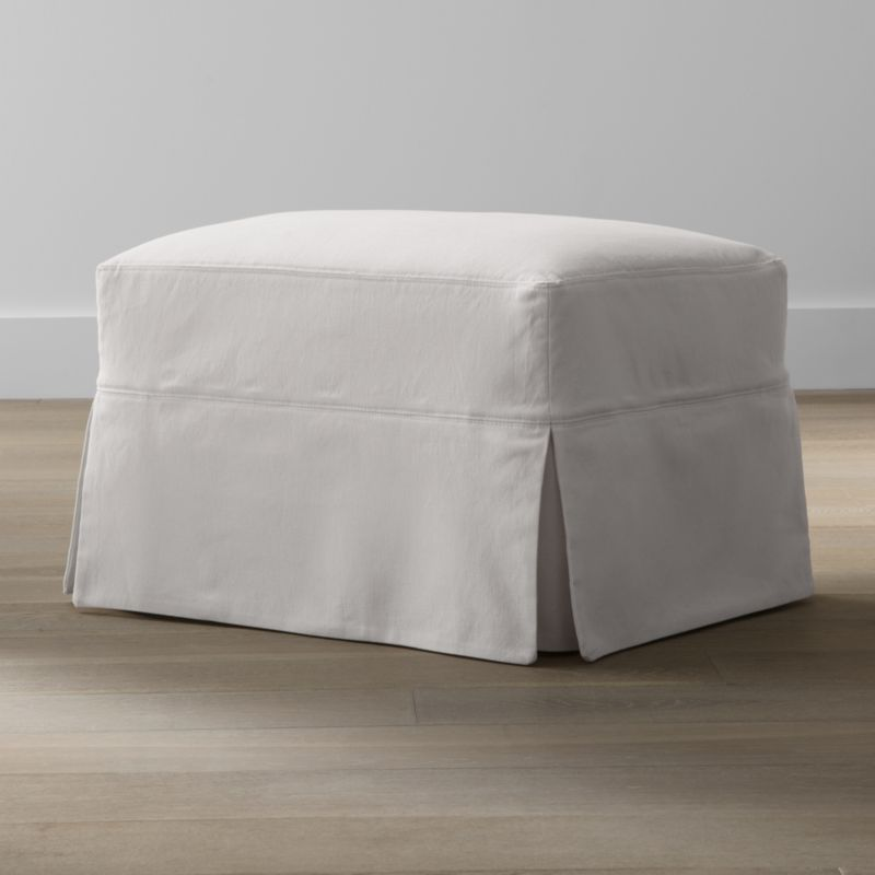Hathaway slipcovered glider ottoman petry snow crate for Crate and barrel pouf