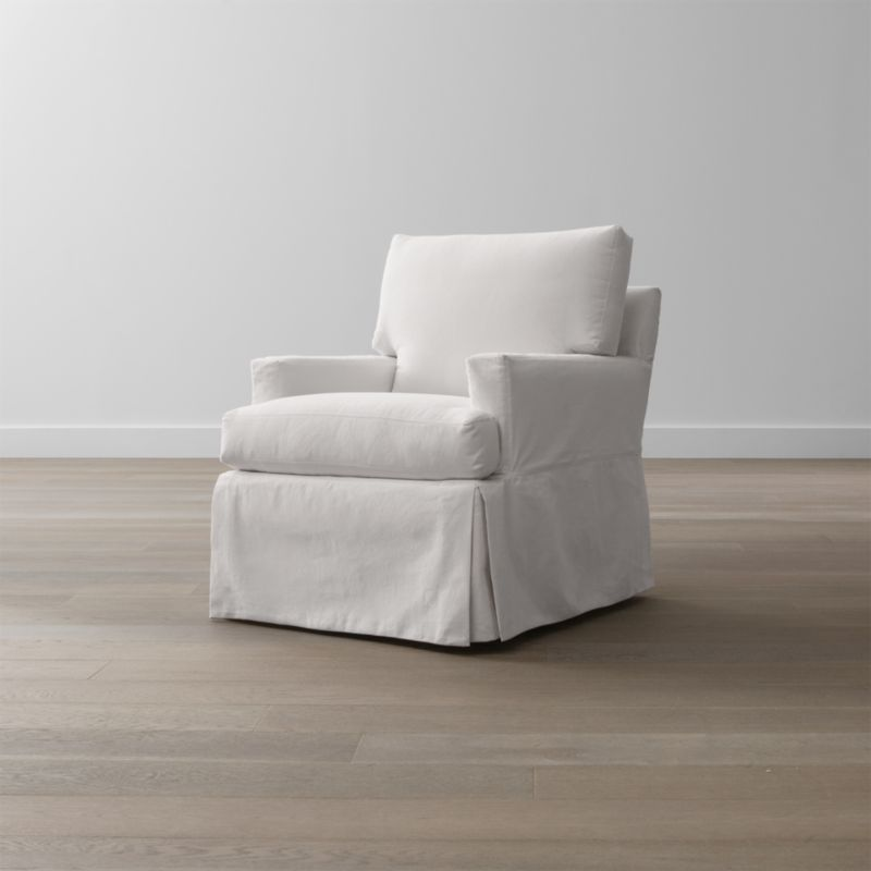 Hathaway Slipcovered Swivel Glider Petry Snow Crate And