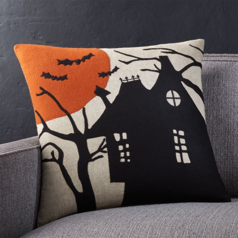 "Haunted House 18"" Pillow with Down-Alternative Insert"