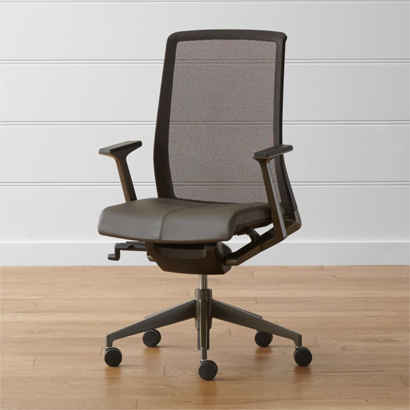 With its strong structural lines in polished aluminum, adjustable ergonomic controls, supportive mesh back and leather upholstered seat, the Haworth® chair goes to work with a range of styles. <NEWTAG/><ul><li>Aluminum base and arms with bronze powdercoat finish</li><li>Leather upholstery</li><li>Polyurethane foam cushioning</li><li>Gas-spring seat adjustment and three-point pivot recline mechanism</li><li>Made in USA of domestic and imported materials</li></ul><li>Crafted from 65% recycled materials</li><li>GREENGUARD Certified and GREENGUARD Children & School Certified</li><li>Designed and tested for use in commercial spaces such as offices, restaurants and hotels</li><li>Made in USA of domestic and imported materials</li></ul><br />