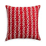 "Hazel Red 20"" Holiday Pillow with Feather-Down Insert"