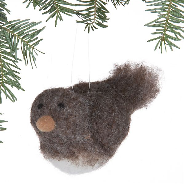 Heathered Felt Bird Ornament