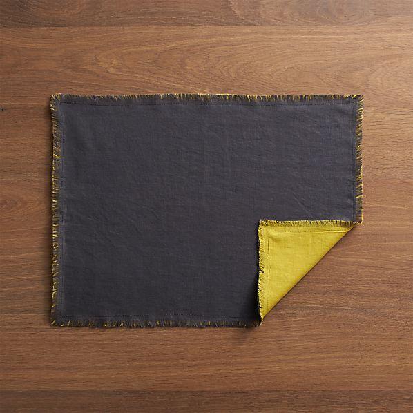 Helena Mustard-Graphite Reversible Placemat