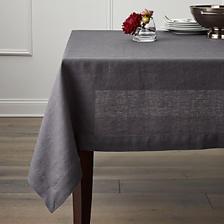"Helena Graphite 60""x120"" Linen Tablecloth"