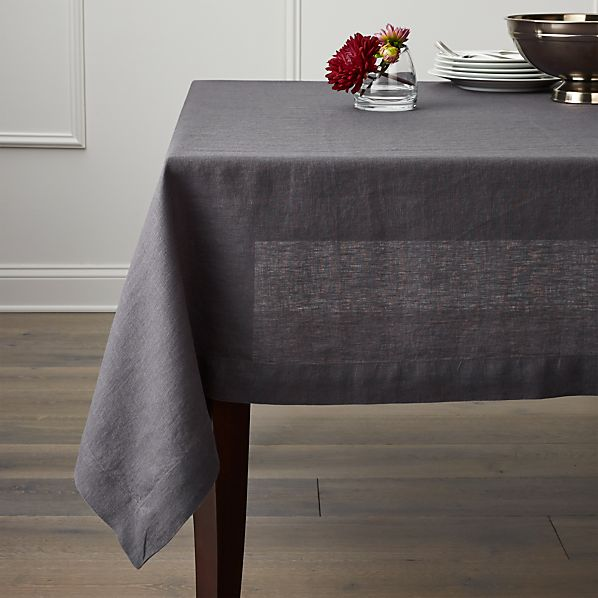 "Helena Graphite 60""x90"" Linen Tablecloth"