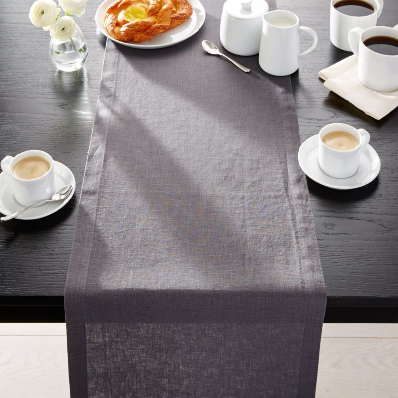 "Helena Graphite Grey Linen 90"" Table Runner"