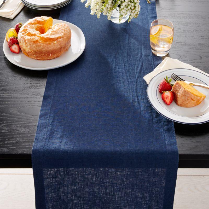 "Helena Indigo Blue Linen 90"" Table Runner"