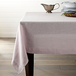 "Helena Lilac 60""x90"" Linen Tablecloth"